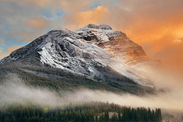 Photograph - Foggy Mountain Sunset by Songquan Deng