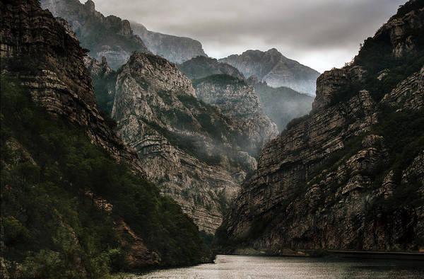 Foggy Mountains Over Neretva Gorge Art Print
