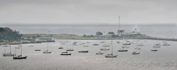 Photograph - Foggy Newport Harbor Lighthouse Panorama by Ginger Wakem
