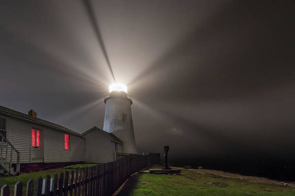Photograph - Foggy Night At Pemaquid Point Lighthouse by Kristen Wilkinson