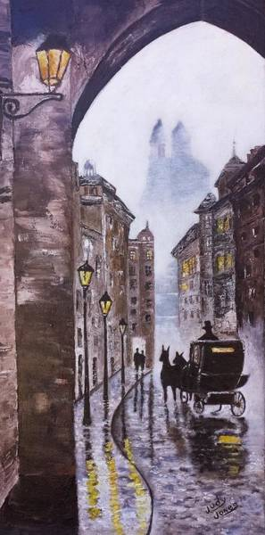 Wall Art - Painting - Foggy Night In The City by Judy Jones