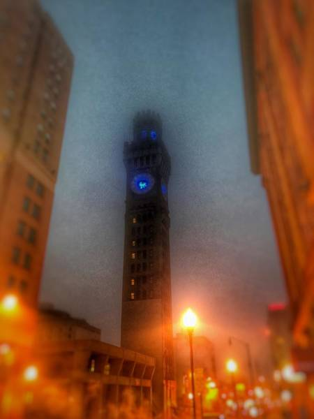 Photograph - Foggy Night - The Bromo Seltzer Tower by Marianna Mills