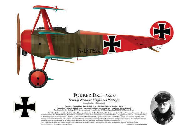 Ww1 Digital Art - Fokker Dr.1 - 152/17 - March 1918 by Ed Jackson