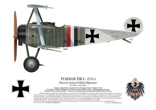 Ww1 Digital Art - Fokker Dr.1 - 214/17 - March 1918 by Ed Jackson