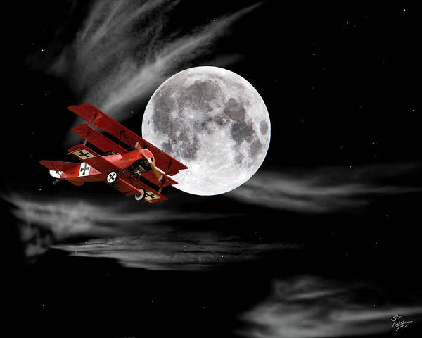 Photograph - Fokker Flying In Front Of The Moon by Endre Balogh