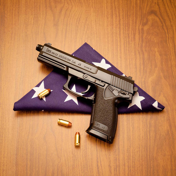 Special Forces Wall Art - Photograph - Folded Flag And Pistol 01 by Richard Nixon