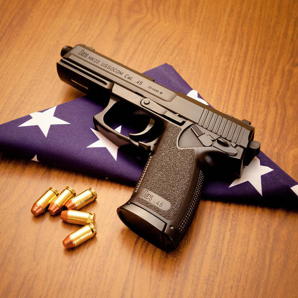 Special Forces Wall Art - Photograph - Folded Flag And Pistol 03 by Richard Nixon
