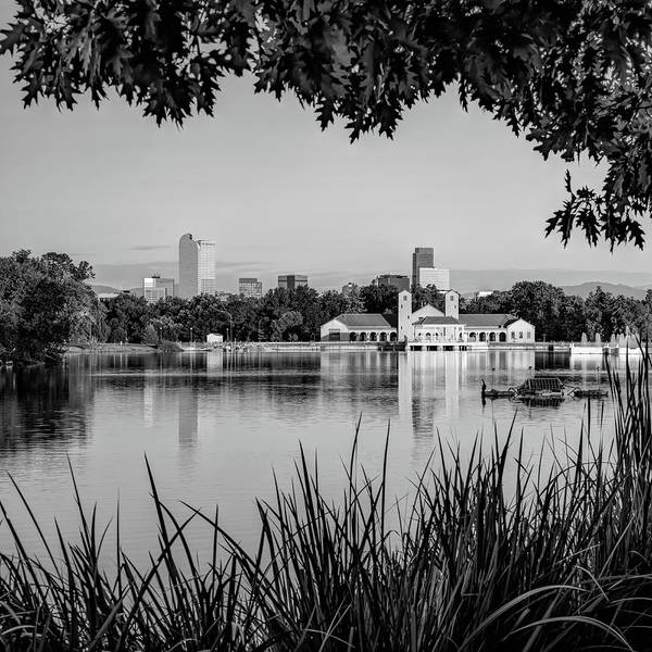 Photograph - Foliage Framed Denver Skyline Reflections - Square Format - Black And White by Gregory Ballos