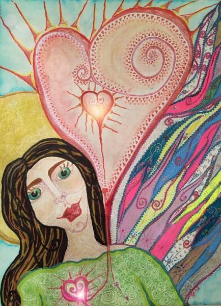 Painting - Folk Angel W Heart by Christine Paris