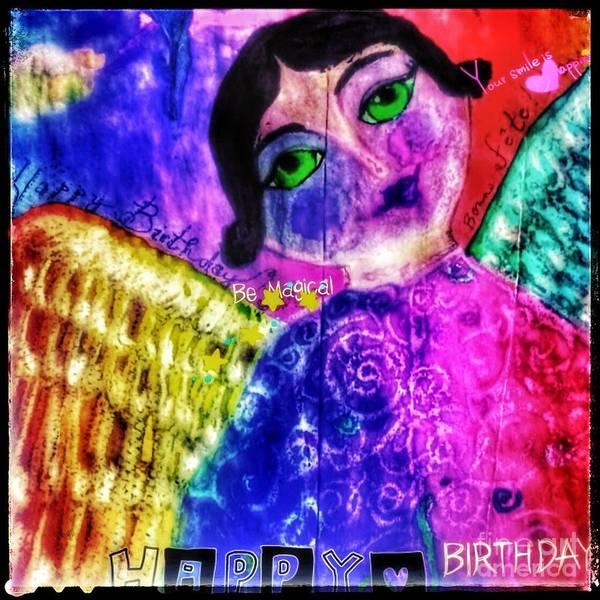 Painting - Folk Art Happy Birthday Angel by Christine Paris