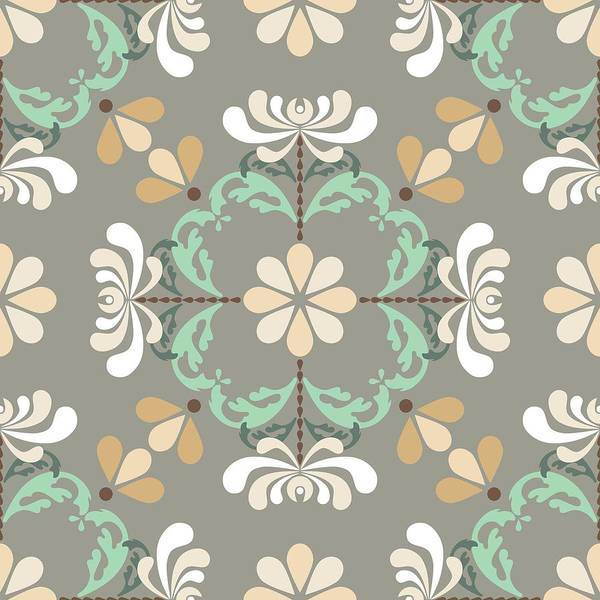 Digital Art - Folk Art Inspired Chrysanthemums In Muted Hues by MM Anderson