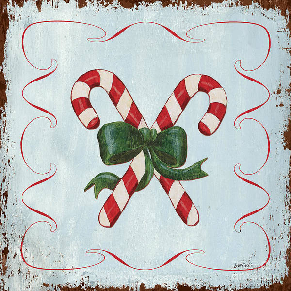 Card Painting - Folk Candy Cane by Debbie DeWitt