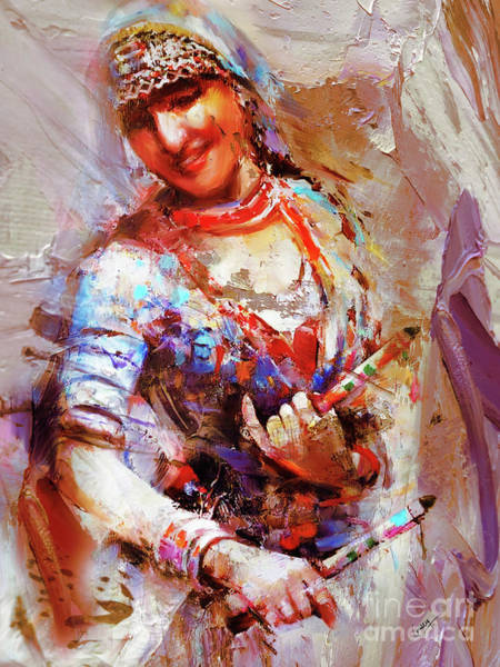 Belly Dancing Painting - Folk Dance Painting by Gull G