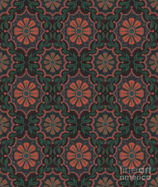 Digital Art - Folk Flower, Floral Pattern, Orange, Green And Black by Julia Khoroshikh
