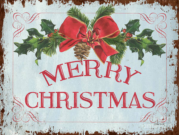 Wall Art - Painting - Folk Merry Christmas by Debbie DeWitt