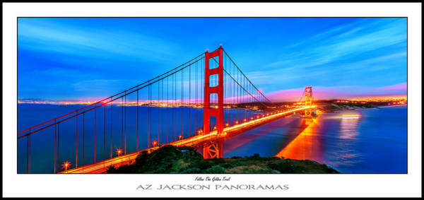 Suspension Bridge Photograph - Follow The Golden Trail Poster Print by Az Jackson