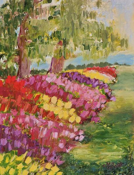 Skagit Valley Painting - Follow The Tulips by Margaret Bobb