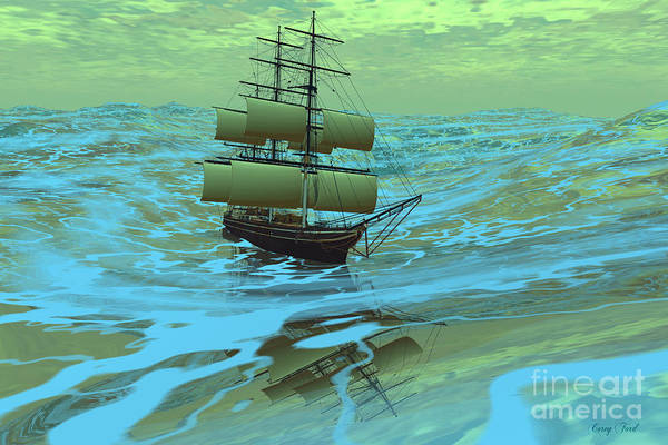 Rudder Painting - Following Sea by Corey Ford