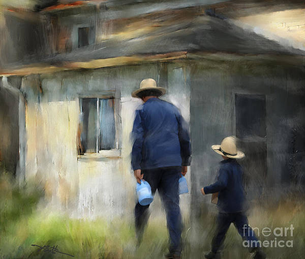 Amish Wall Art - Painting - Follows In His Footsteps by Bob Salo