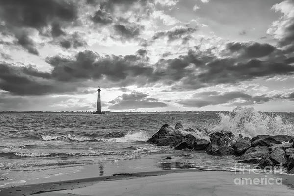 Photograph - Folly Beach In Black And White  by Dale Powell