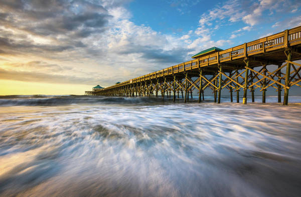 Wall Art - Photograph - Folly Beach Sc Pier Charleston South Carolina Seascape by Dave Allen