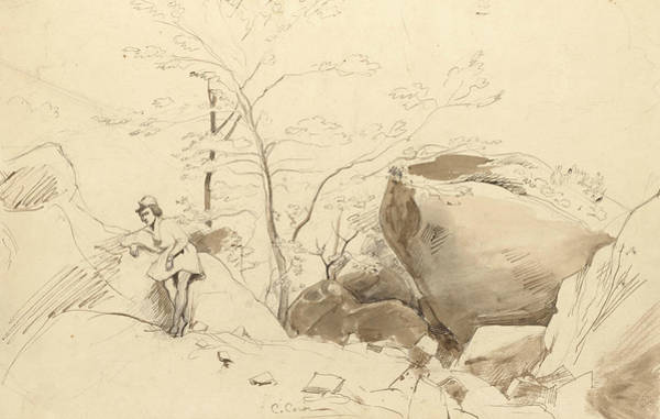 Drawing - Fontainebleau, Figure Leaning Against A Rock by Jean-Baptiste-Camille Corot