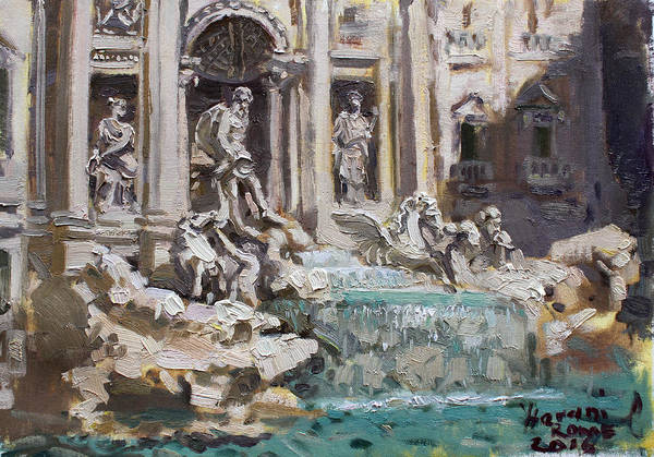 Urban Landscape Painting - Fontana Di Trevi Rome by Ylli Haruni