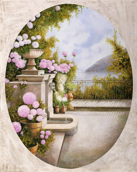 Terraces Wall Art - Painting - Fontana Sul Terrazzo by Guido Borelli