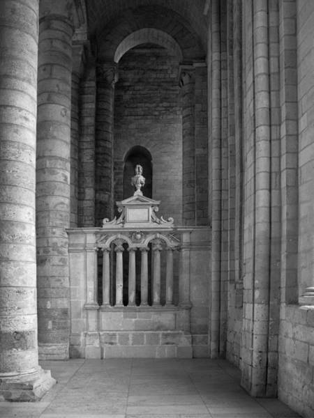 Fontevraud Photograph - Fontevraud Abbey Interior Bw by Dave Mills