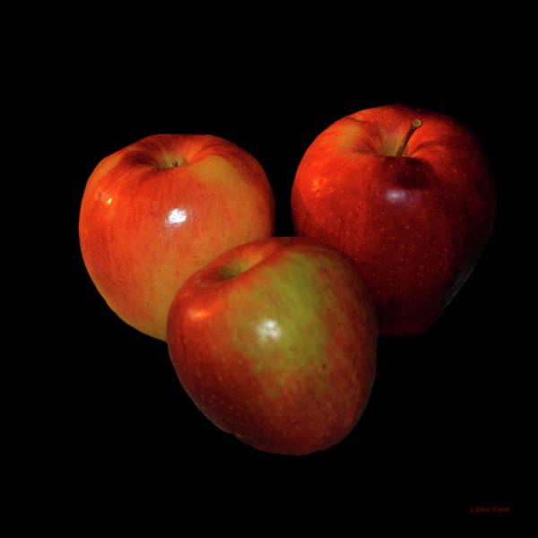 Photograph - Food Art Apples On Black by Lesa Fine