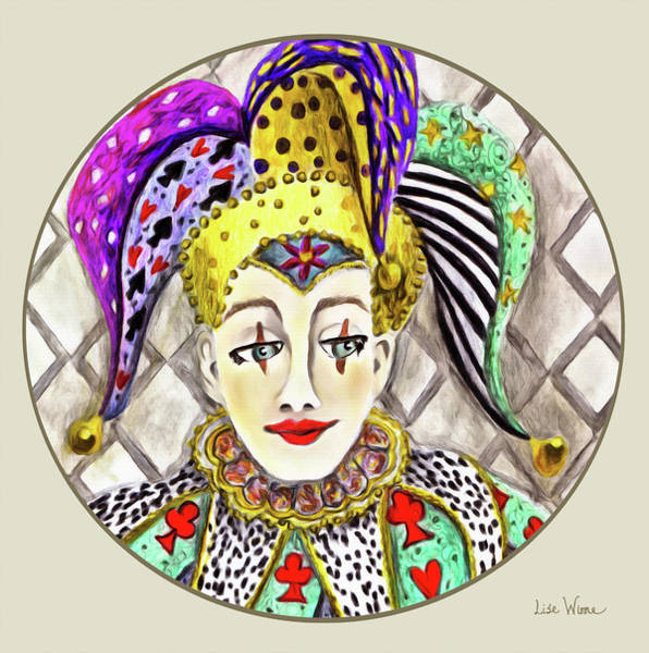 Painting - Fools, Jester Button by Lise Winne