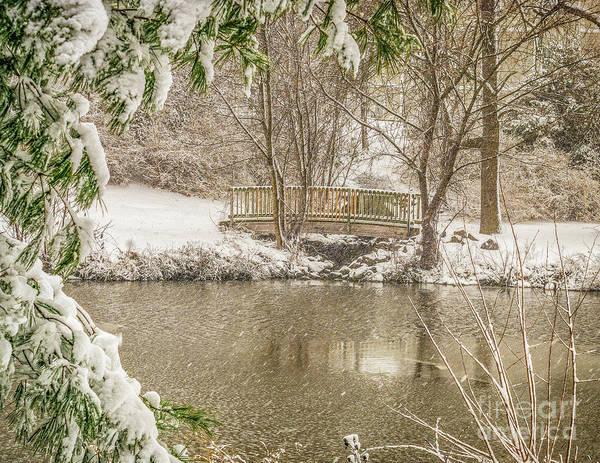 Photograph - Foot Bridge In The Snow by Nick Zelinsky