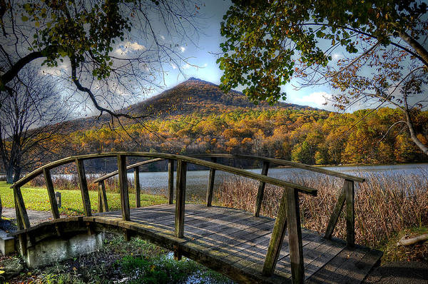 Foilage Photograph - Foot Bridge by Todd Hostetter