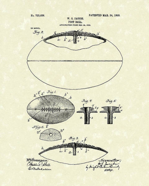 Drawing - Football 1903 Jacobs Patent Art by Prior Art Design