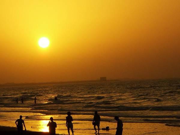 Football And Sunset At The Beach Art Print by Sunaina Serna Ahluwalia