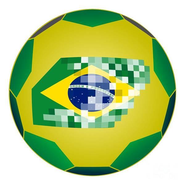 Wall Art - Digital Art - Football Ball With Brazil Flag by Michal Boubin