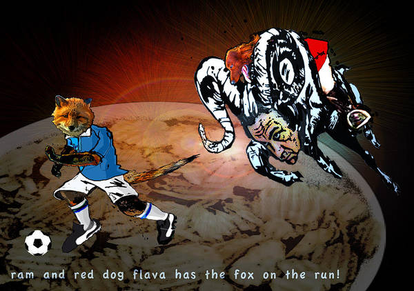 Painting - Football Derby Rams Against Leicester Foxes by Miki De Goodaboom