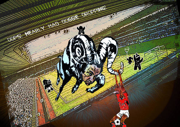 Painting - Football Derby Rams Against Nottingham Forest Red Dogs by Miki De Goodaboom