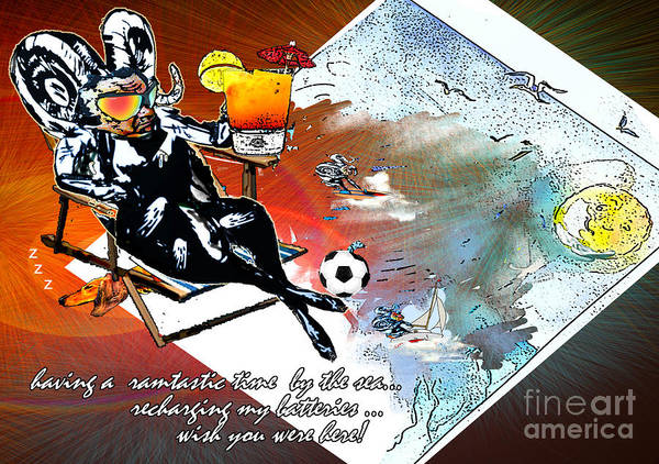 Painting - Football Derby Rams On Holidays By The Sea by Miki De Goodaboom