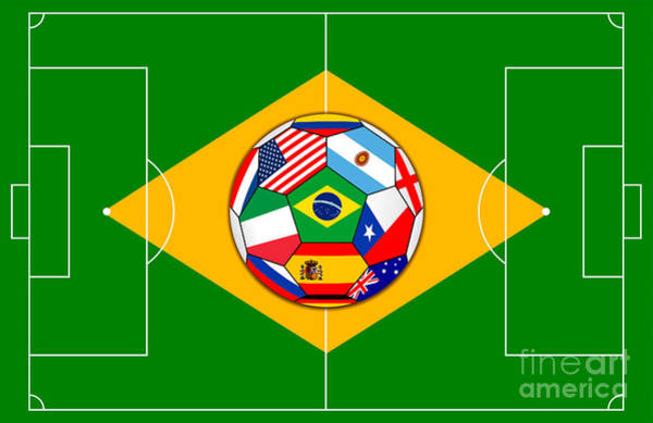 Wall Art - Digital Art - Football Field And Ball With Flags by Michal Boubin