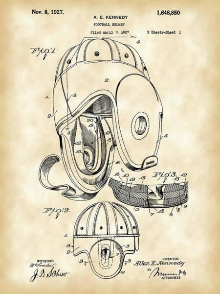 Wall Art - Digital Art - Football Helmet Patent 1927 - Vintage by Stephen Younts