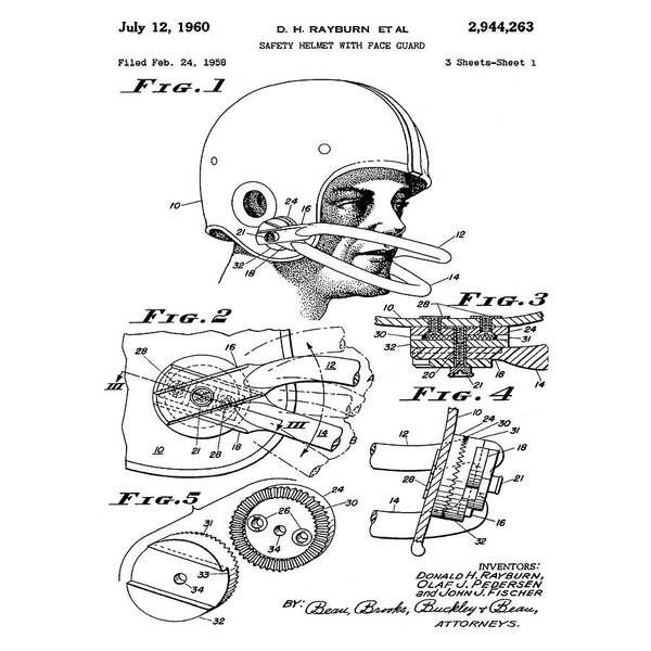 Photograph - Football Helmet Patent 1960 by Bill Cannon