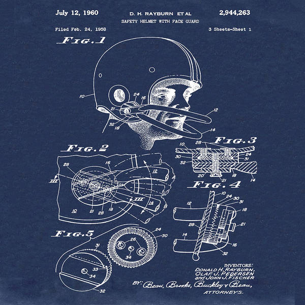 Photograph - Football Helmet Patent 1960 Blue by Bill Cannon