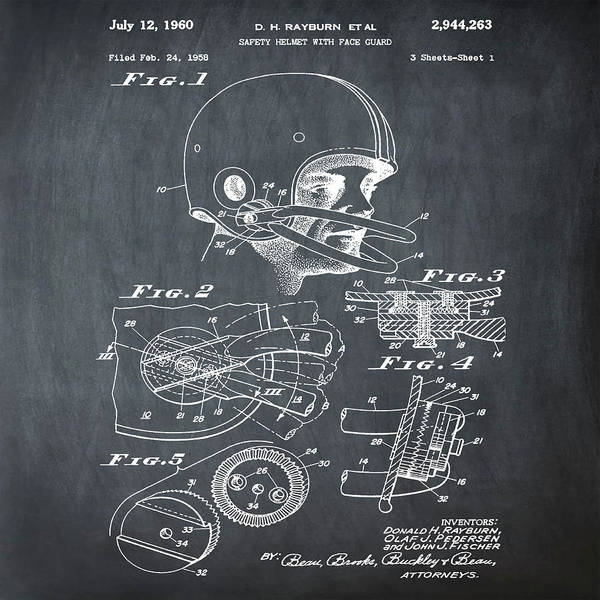 Photograph - Football Helmet Patent 1960 Chalk by Bill Cannon