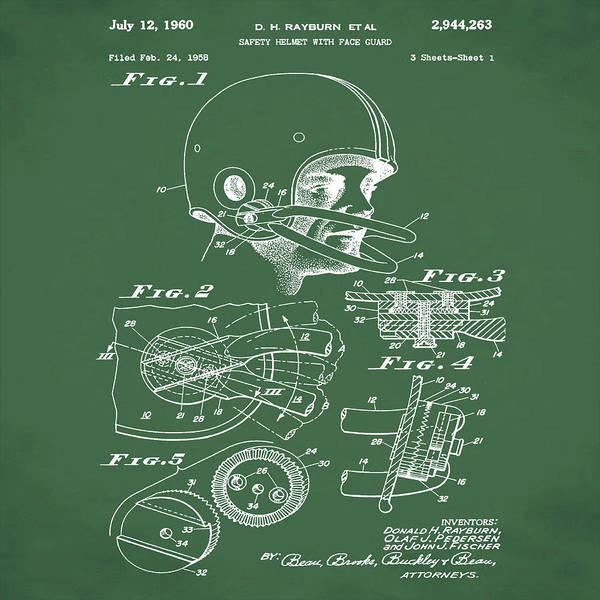 Photograph - Football Helmet Patent 1960 Green by Bill Cannon