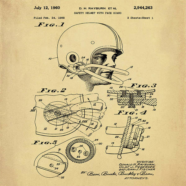 Photograph - Football Helmet Patent 1960 In Sepia by Bill Cannon