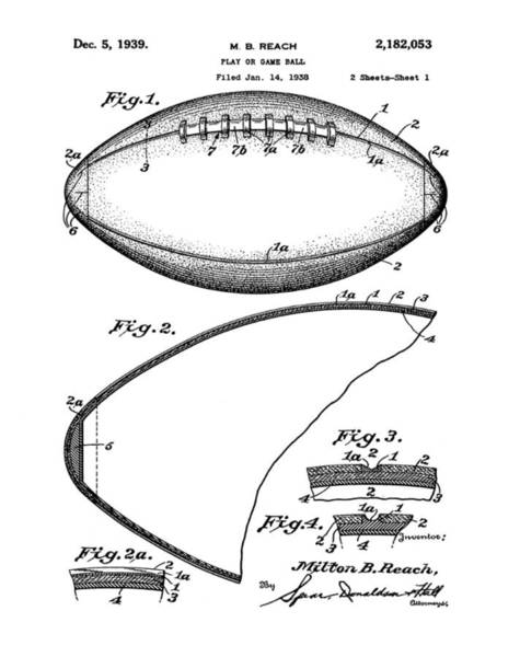 Wall Art - Photograph - Football Patent 1939 by Bill Cannon