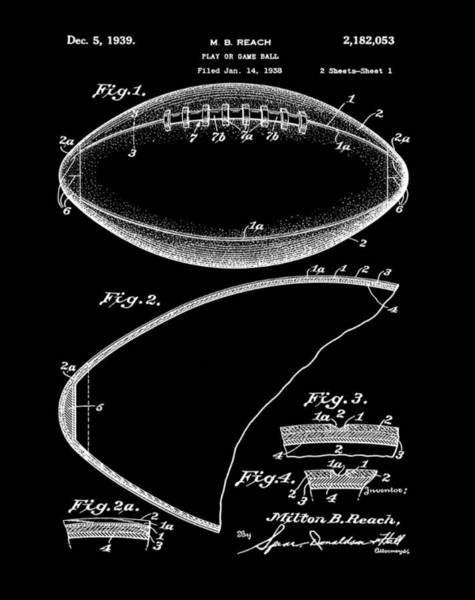 Wall Art - Photograph - Football Patent 1939 Black by Bill Cannon