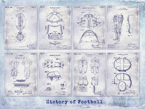 Wall Art - Photograph - Football Patent History Blueprint by Jon Neidert
