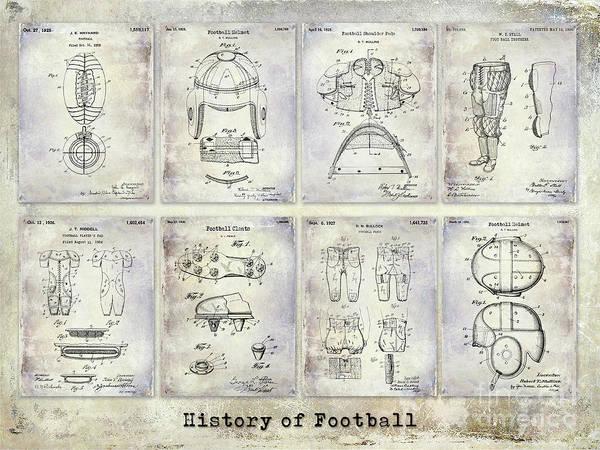 Dallas Cowboys Photograph - Football Patent History by Jon Neidert